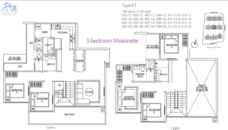 Skypark residences floorplan f1 5bedroom maisonette for Maisonette plans